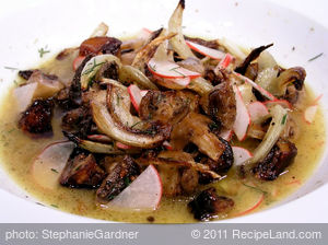 Roasted Mushroom and Fennel Salad with Radishes and Citrus Dressing