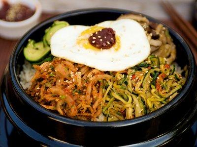Bibimbap (Korean Seasoned Vegetables and Rice with Spicy Sauce)