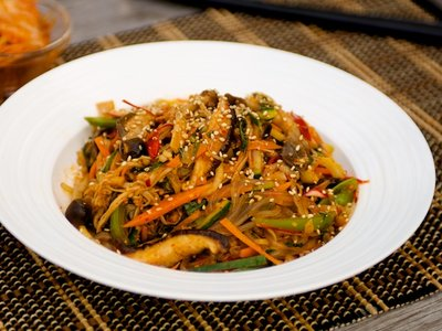 Spicy Korean Noodles with Wild Mushrooms