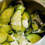 Add the cucumber and yoghurt into a medium bowl.