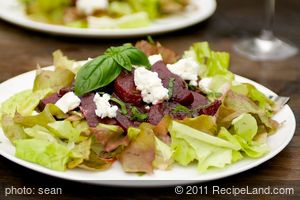 Glazed Roasted Beets, Basil and Goat Cheese Salad