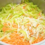 Put cabbage, carrot, celery into a large mixing bowl.