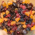 Mix well all the dried fruits together in a bowl.
