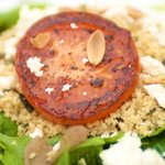 Love these fried juicy and thick tomato slices, toasted almonds, feta cheese...