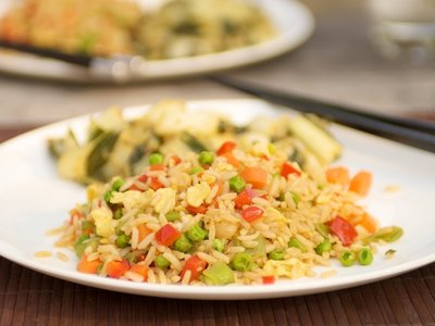 Chinese Fried Rice with Bell Pepper, Peas and Carrots
