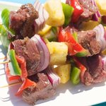 A close-up to show how juicy the beef cubes, pineapple chunks and vegetables are!