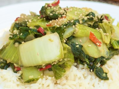 Sichuan Stir-Fried Bok Choy with Red Chilis
