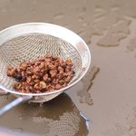 Using a slotting spoon, take the sichuan peppercorns out of the oil, and discard the peppercorns.