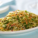 And now time to place the slaw onto a serving plate.