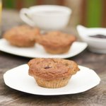 Super-duper moist blueberry, banana and apple oatmeal muffins