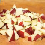 Cut the apple into 1/2-inch pieces.