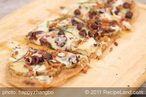 Grilled Potato, Pancetta and Roasted Garlic Pizza with Olives and Rosemary