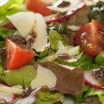 Mixed Greens with Basil-Balsamic Vinaigrette and Parmesan