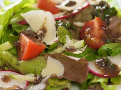 Mixed Greens with Basil-Balsamic Vinaigrette and Parmesan