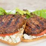 Open-face Grilled Portobello Sandwiches with Parsley-Basil Goat Cheese
