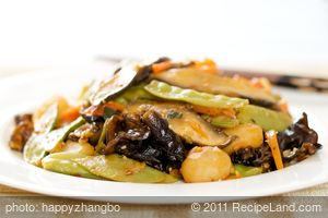 Snow Peas, Carrots and Water Chestnuts Stir-Fry with Asian Sauce