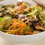 Tasty Korean Noodles with Seasoned and Cooked Vegetables.
