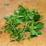 Get some fresh thyme and/or oregano leaves.