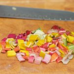 Chop the stems into about 1/2-inch pieces.