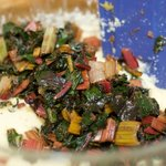 Add the cooked and drained Swiss chard.