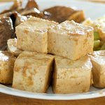 Well marinated tofu cubes.