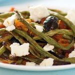 A Mediterranean Roasted Green Beans with Goat Cheese Salad