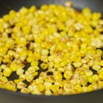 Stirring often, toast the corn for about 10 minutes until the corn turn into brown in spots. Set aside.