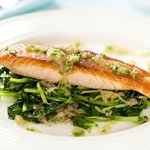 Quick, easy and tasty crispy salmon on tatsoi!