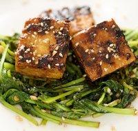 Stir-fry Tatsoi, Crusty Tofu with Asian Sweet-Sour Sauce