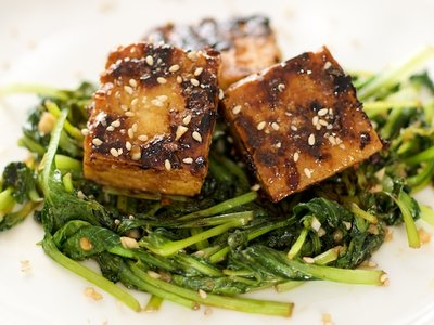 Stir-fry Tatsoi, Crusty Tofu with Asian Sweet-Sour Sauce