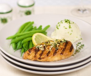 Grilled Lemon Pepper Chicken Breasts with Thyme Gremolata
