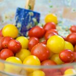 Add the cherry tomatoes, and mix until well combined.