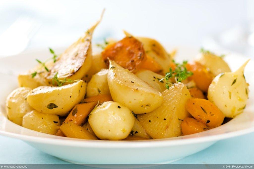 Lemony Glazed Turnips and Carrots