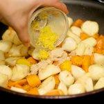 Add the freshly grated lemon zest.