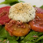 Heirloom Beets, Warm Goat Cheese, Arugula with Green Olive Vinaigrette