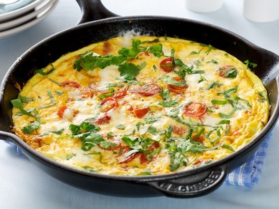 Chorizo, Cherry Tomato and Feta Frittata