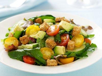 Arugula and Cherry Tomato Salad with Avocado and Croutons