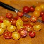 Half the cherry tomatoes.