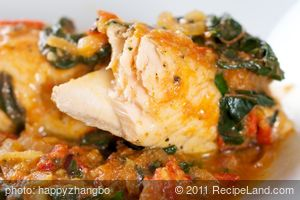 Salmon Poached with Tomatoes and Swiss Chard