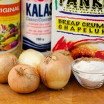 First  you need these a few ingredients to make the onion rings.