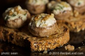 Cheese and Walnut Stuffed Mushrooms on Toast