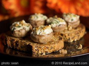 Cheese and Walnut Stuffed Mushrooms on Toast