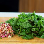 Chop the stems into 1/8-inch slices, and coarsely chop the leaves.