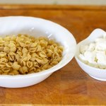 Then you need some dry pasta and crumble some goat cheese.