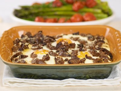 Baked Eggs and Sausage with Cheesy Polenta Casserole