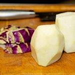 Peel the kohlrabi and cut into half crosswise if it's too big.