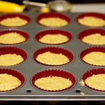 Fill 12 greased muffin pans 2/3 full.
