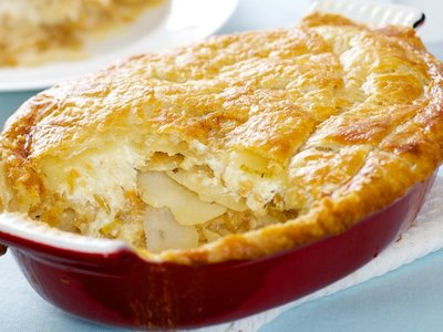 Cheese Onion Leek and Potato Pie