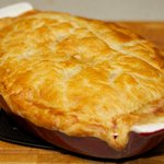 Cook the pie in the lower part of a 375 degrees F oven for about 30 minutes or until the pastry is golden brown.