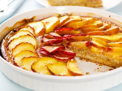 Peach and Almond Bread with Maple Glaze
